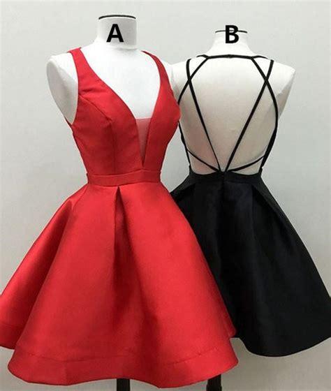 short red homecoming dress  black homecoming dress