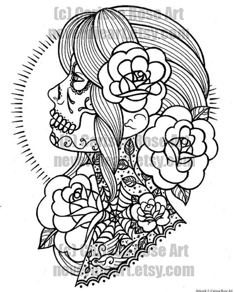 Digital Download Print Your Own Coloring Book By Neverdieart Princess Skull Tattoos Free Coloring Sheets
