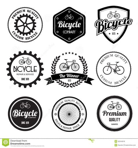 set of bicycle retro vintage badges and labels stock