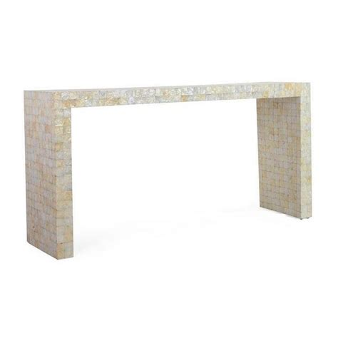 capiz shell table l white decorative selma modern off white rectangle console table