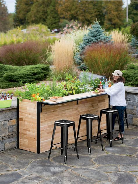 reclaimed wood outdoor bar tall planter patio plant