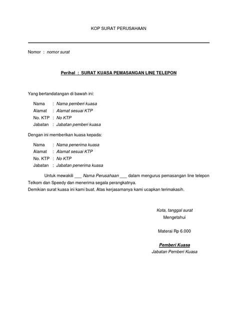 format surat kuasa balik nama surat kuasa pemasangan telepon