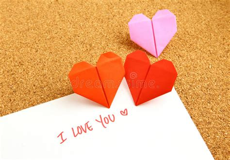 Origami With Lined Paper - origami paper hearts with message royalty free stock photo
