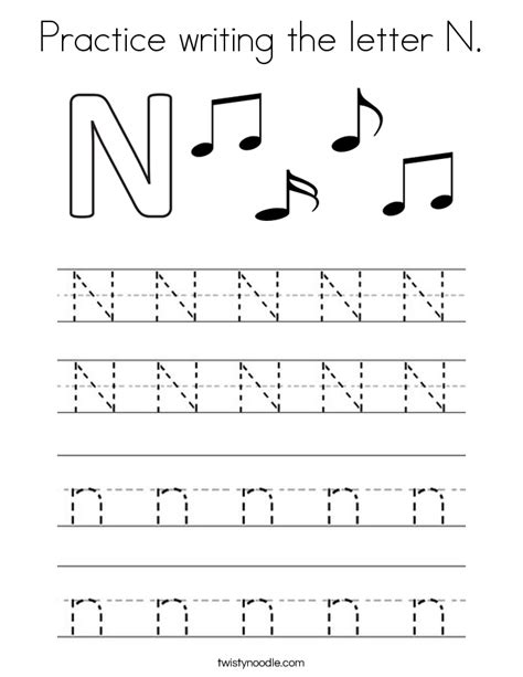 coloring pages for the letter n practice writing the letter n coloring page twisty noodle