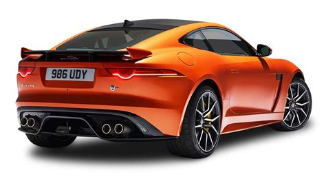jaguar car png orange jaguar f type svr coupe back view car png image