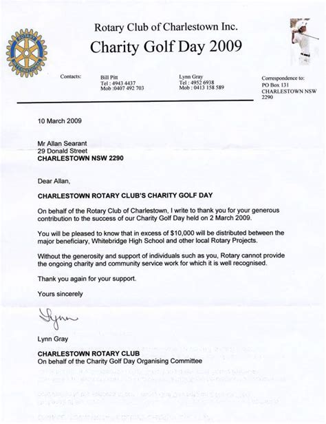 charity golf day invitation letter recent events