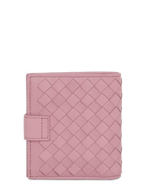 Bottega Veneta Intrecciato Karung Leather Wallet by Bottega Veneta Small Intrecciato Leather Wallet In Pink