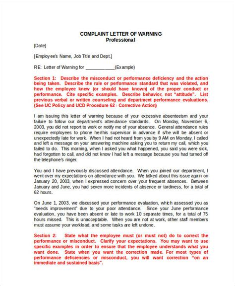 Complaint Letter Employee Poor Performance sle of warning letter for poor work performance cover