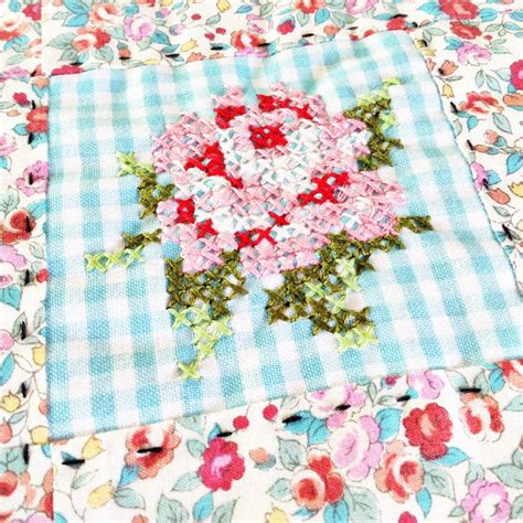 Patchwork And Stitching - a happy place lovely patchwork cross