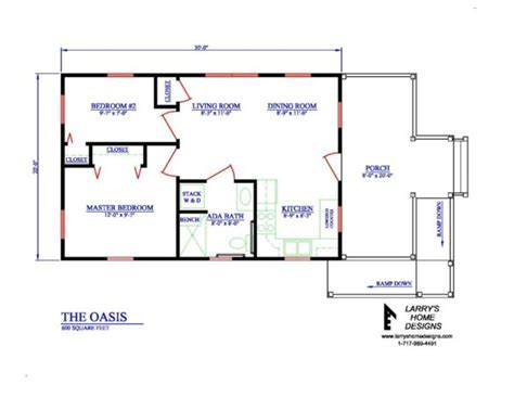 The Oasis: 600 Sq. Ft. Wheelchair Friendly Home Plans