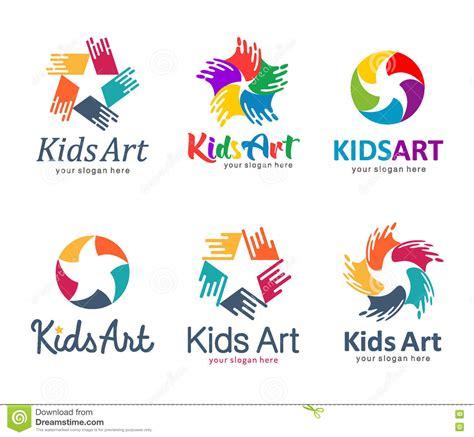 kids logo design stock illustration image of childhood children logo set star kids kids art stock vector