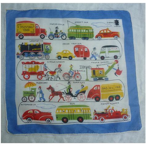Print Handkerchief colorful novelty transportation print handkerchief from