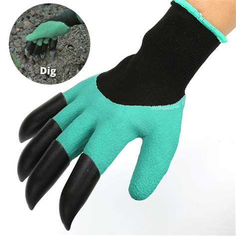 Garden Genie Gloves Sarung Tangan Kebun sale rubber garden gloves with 4 abs plastic fingertips claws for gardening raking digging