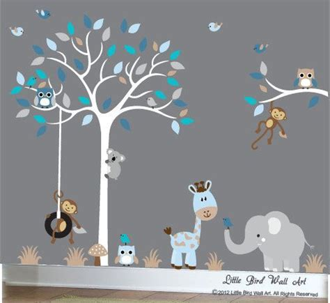 Wall Decals For Baby Boy Nursery Baby Boy Wall Decal Nursery White Tree Wall Decal Grey Blue 106 Vinyls White Trees And Boys