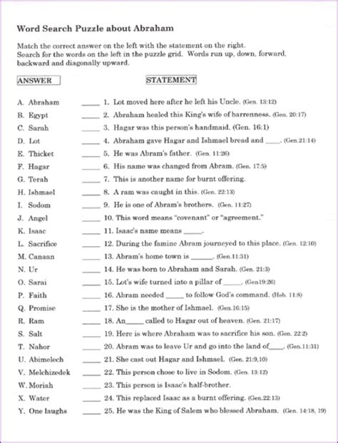 Bible Worksheets For Youth by Word Search About Abraham And Korner