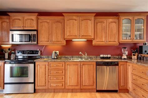 red kitchen walls with oak cabinets red kitchen walls with oak cabinets cabinets matttroy