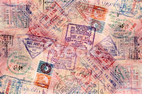 Interior Colours For Home many visa stamps in passport background stock photos