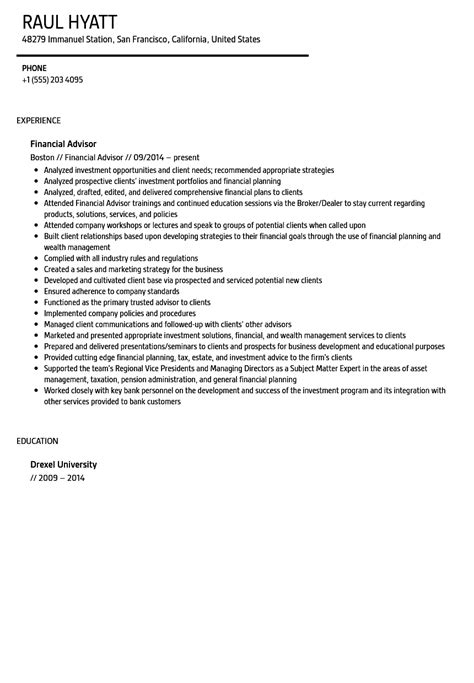 Financial Advisor Resume Sle Velvet Jobs Financial Advisor Resume Template