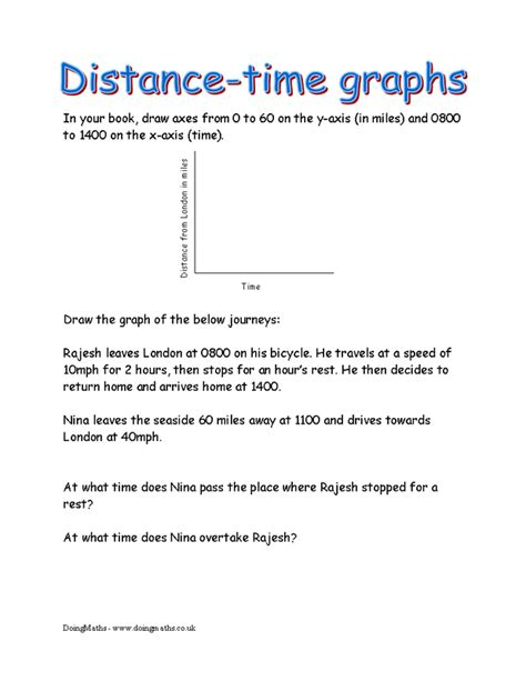 Distance Time Graph Worksheet With Answers Pdf distance and speed time graphs doingmaths free maths