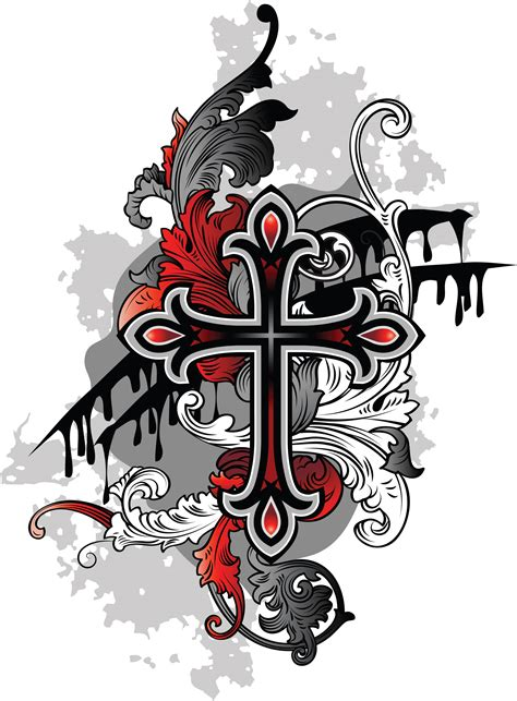 gothic designs cross tattoos for men