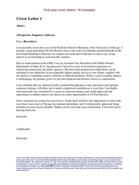 Year Cover Letter by Internship Cover Letters Exles