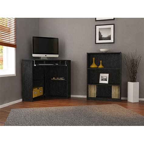 corner desk with bookcase mainstays corner desk 3 shelf bookcase value bundle mix match walmart