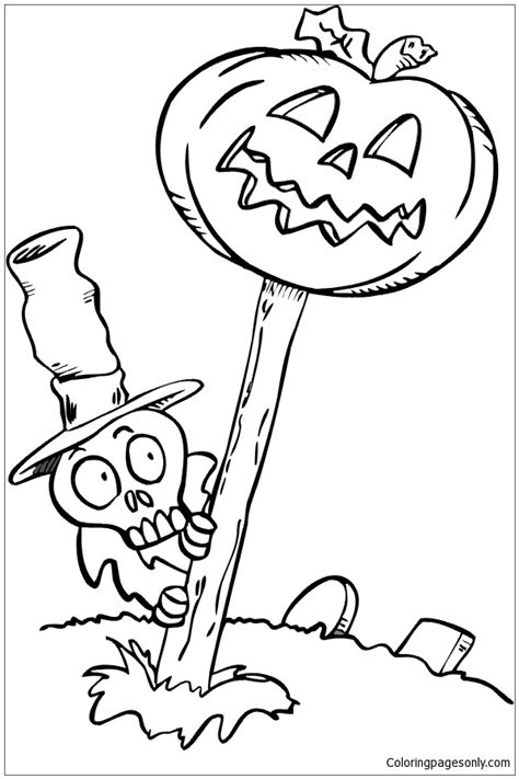 free coloring pages of skeleton and jackolantern a skeleton in a graveyard with a jack o lantern coloring