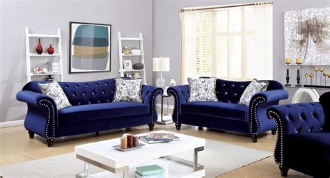 Blue Sofa Set Jolanda Tufted Blue Fabric Sofa Set