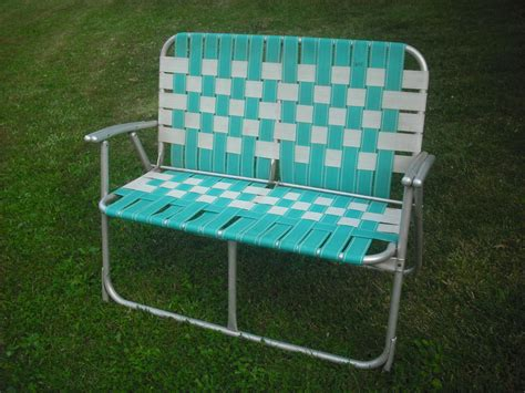 vintage webbed aluminum folding lawn chair seat