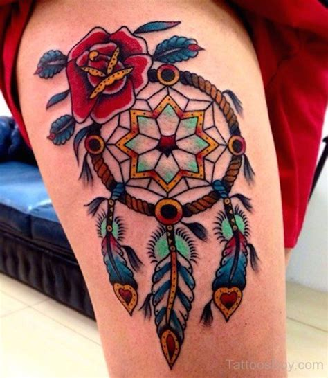 tattoo finder tattoofinder com closing for business gallery traditional rose flower and dreamcatcher tattoo on thigh