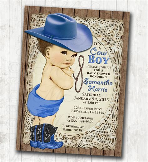 Vintage Western Baby Shower Invitations by Cowboy Baby Shower Invitation For Boy Vintage Cowboy