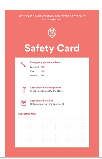 Emergency Card Template Free by A House Manual Guests Will Read