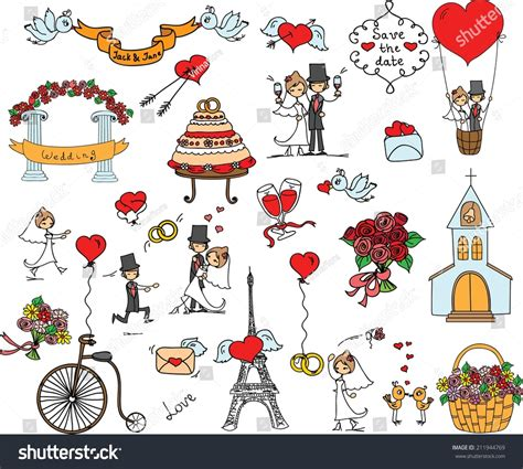 doodle wedding doodle wedding set stock vector illustration 211944769