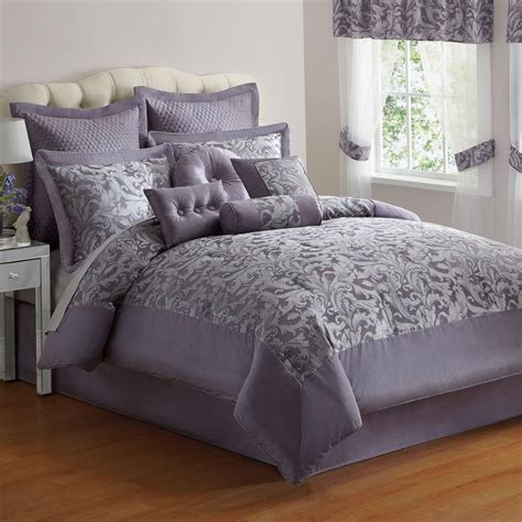 elegant 10 pc purple silver jacquard king size comforter