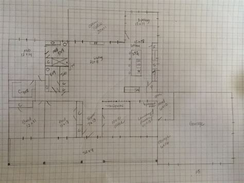 home design graph paper draft of floor plan thoughts