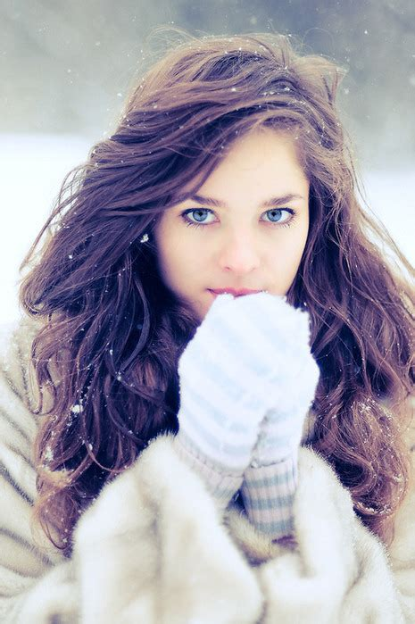 Girl With Brown Hair In Snow   image blue eyes curly hair globes pretty girl snow