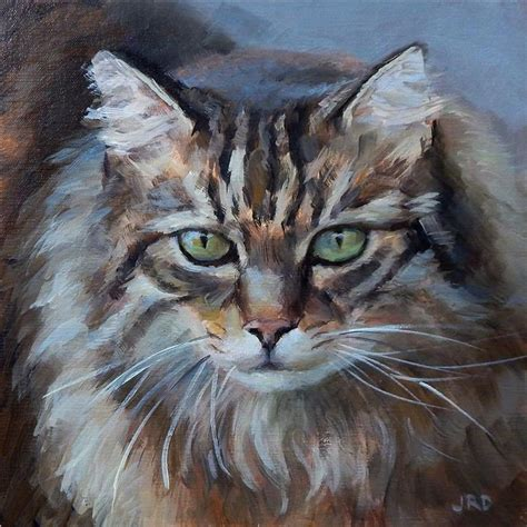 painting for cats buy original by j dunster painting fluffy cat