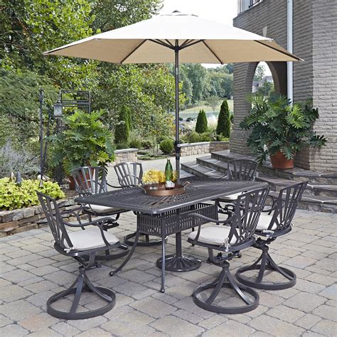 Outdoor Patio Dining Sets With Umbrella Home Styles Largo 8pc Dining Set W Umbrella And Cushions Outdoor Living Patio Furniture