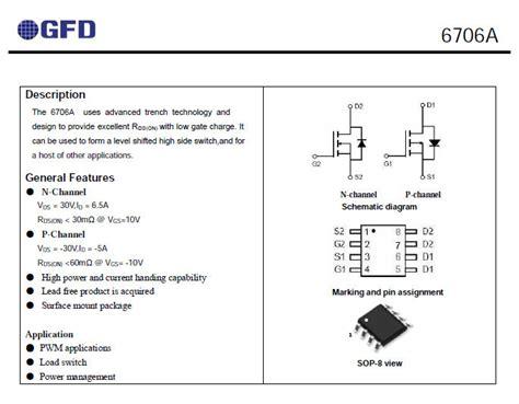 nomor transistor fet transistor mosfet 6706a n p 30 v 6 5a n channel 30 v 5a p channel sop 8 buy product on