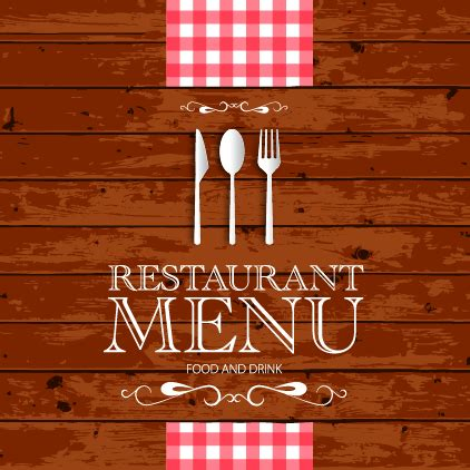 restaurant menu with wood board background vector 02