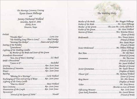 wedding programs romantic decoration