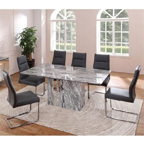 marble table dining room sets moritz marble rectangular dining table with 6 dining chairs