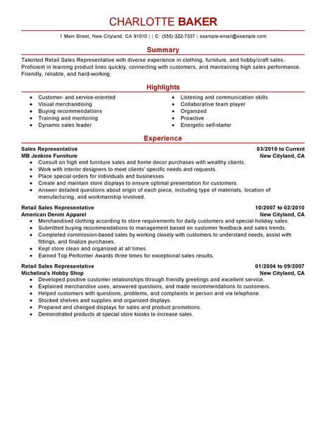 resume exles for customer service best rep retail sales resume exle livecareer