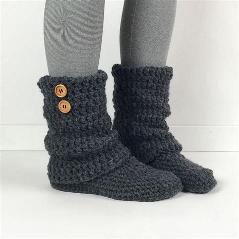 womens gray slippers s crochet gray slouchy slipper boots by