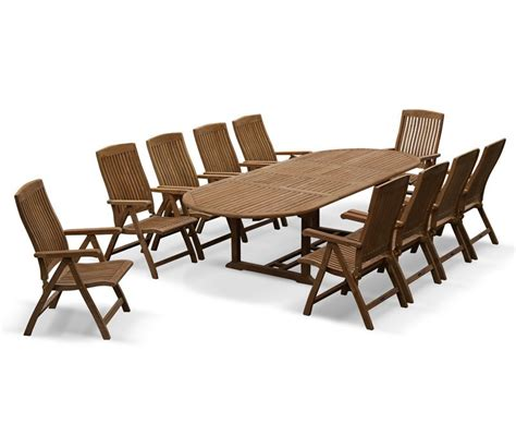 10 Seater Dining Table And Chairs Bali Teak 10 Seater Extending Dining Table And Reclining Chairs Set