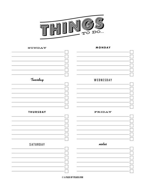 things to do template pdf fancy to do list sweet