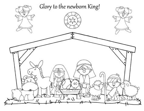 glory to the newborn king in nativity coloring page