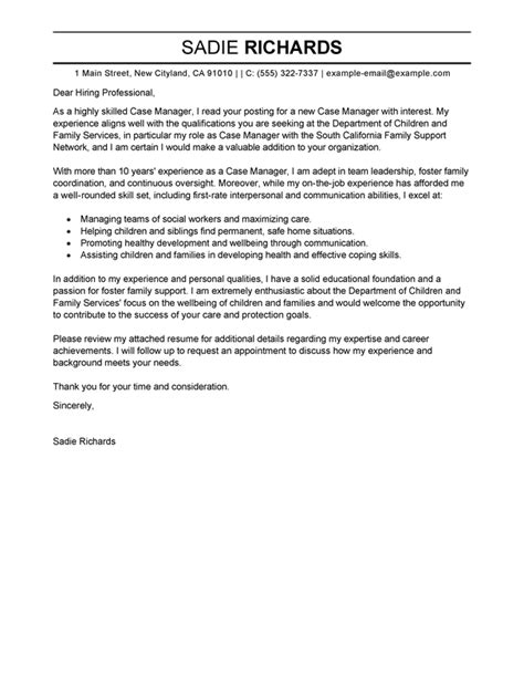 cover letter for family service worker best manager cover letter exles livecareer