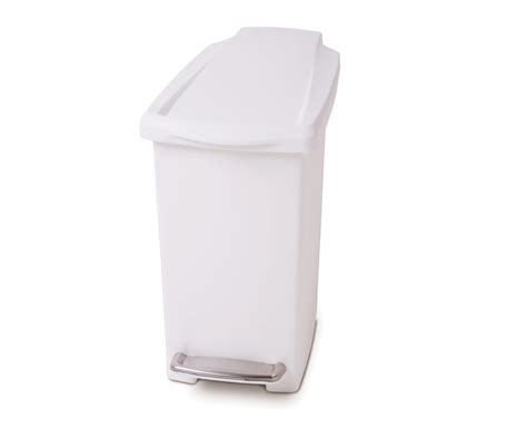 White Plastic Bathroom Bin by Simplehuman 10 Litre Slim Pedal Bin White Plastic