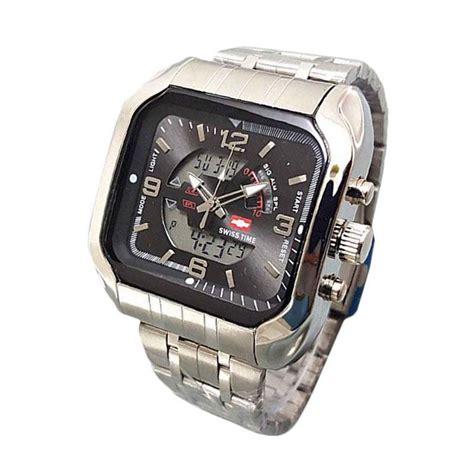 Swiss Army Dual Time Sl2 Silver jual swiss army st 7676ad dual time jam tangan pria